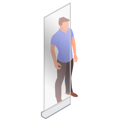 ViewRoll 80 x 205 cm – banner rollup transparent contre corona