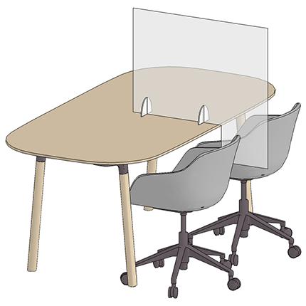 Bureauscherm in plexiglas - ViewDesk 3D zicht